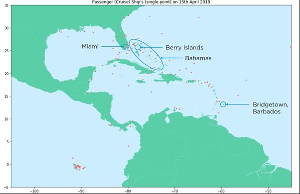 Cruise Ship Locations (Caribbean): 15 April 2019