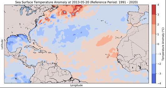 Sea Surface Temperature Anomalies – 2013